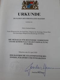Urkunde Gerhard Martin